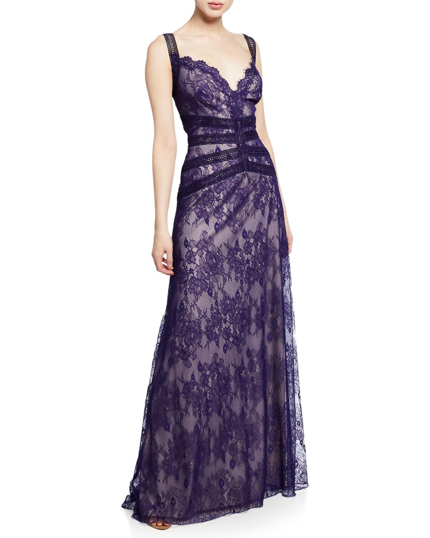 f5890b0e723d Tadashi Shoji Sleeveless Lace A-Line Gown In Blue | ModeSens
