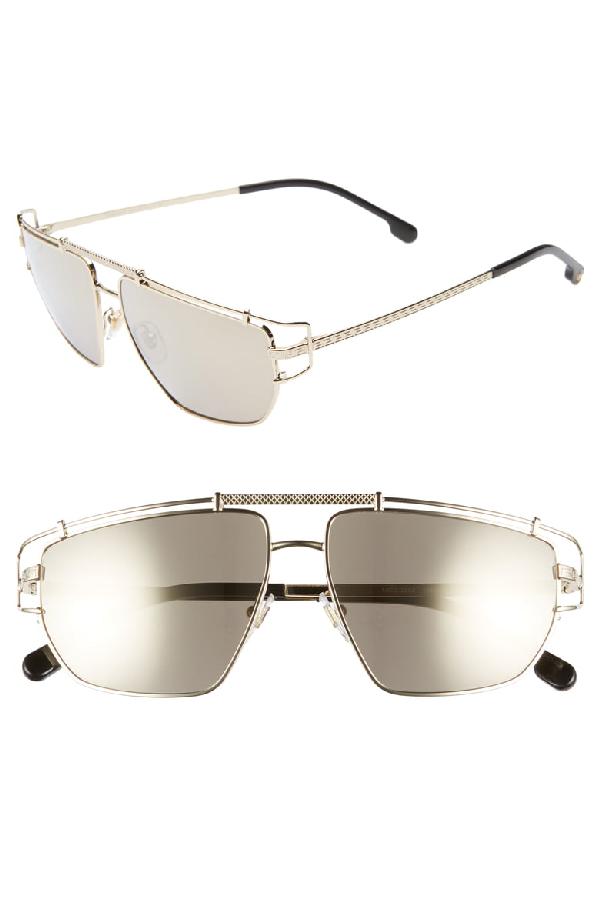 162a4e57d Versace Men's Mirrored Brow Bar Aviator Sunglasses, 57Mm In Pale Gold