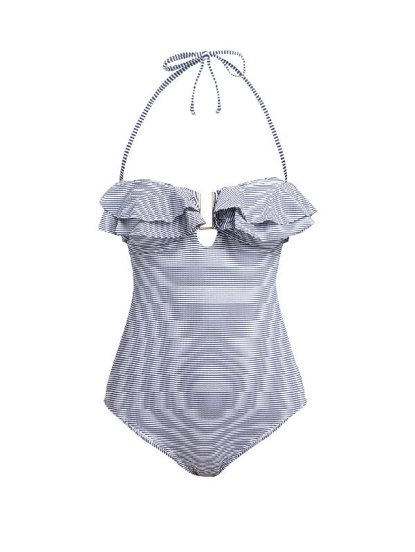 Melissa Odabash Corfu Striped Bandeau Swimsuit In Navy Print