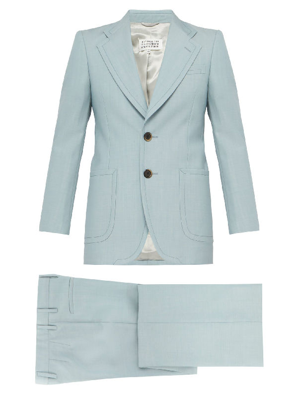 Maison Margiela Single-breasted Wool And Mohair-blend Suit In Light Blue