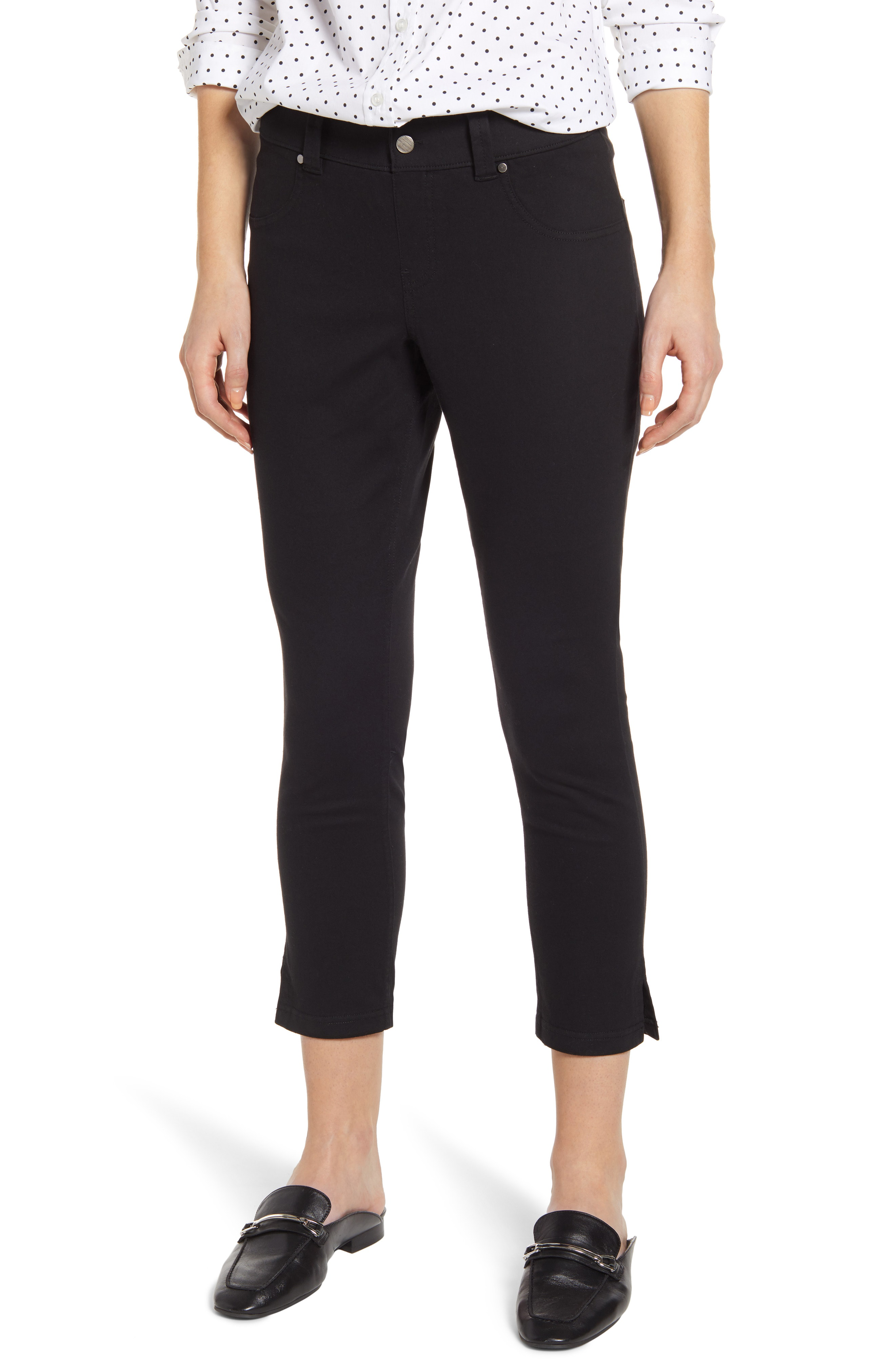 803ab14f3ed44 Hue Slit Hem Capri Denim Leggings In Black | ModeSens