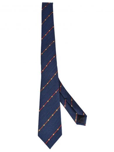 a2be5a3a0 Gucci Silk Wool Tie With Bee Web Stripe In Blue Silk Wool | ModeSens