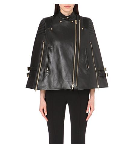 Givenchy Biker-Detail Leather Cape In Blk