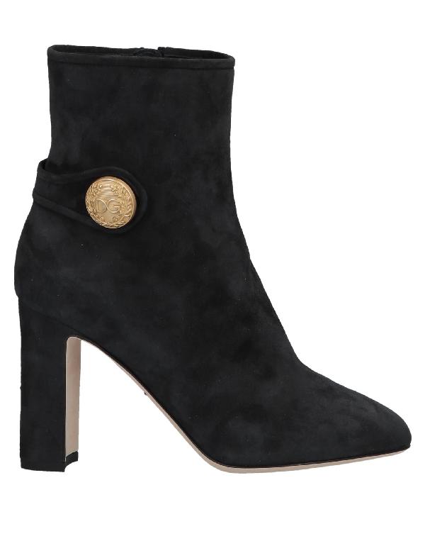 Dolce & Gabbana Embellished Suede Ankle Boots In Black