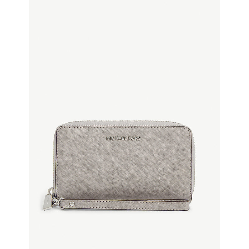 Michael Michael Kors Leather Travel Phone Case In Pearl Grey