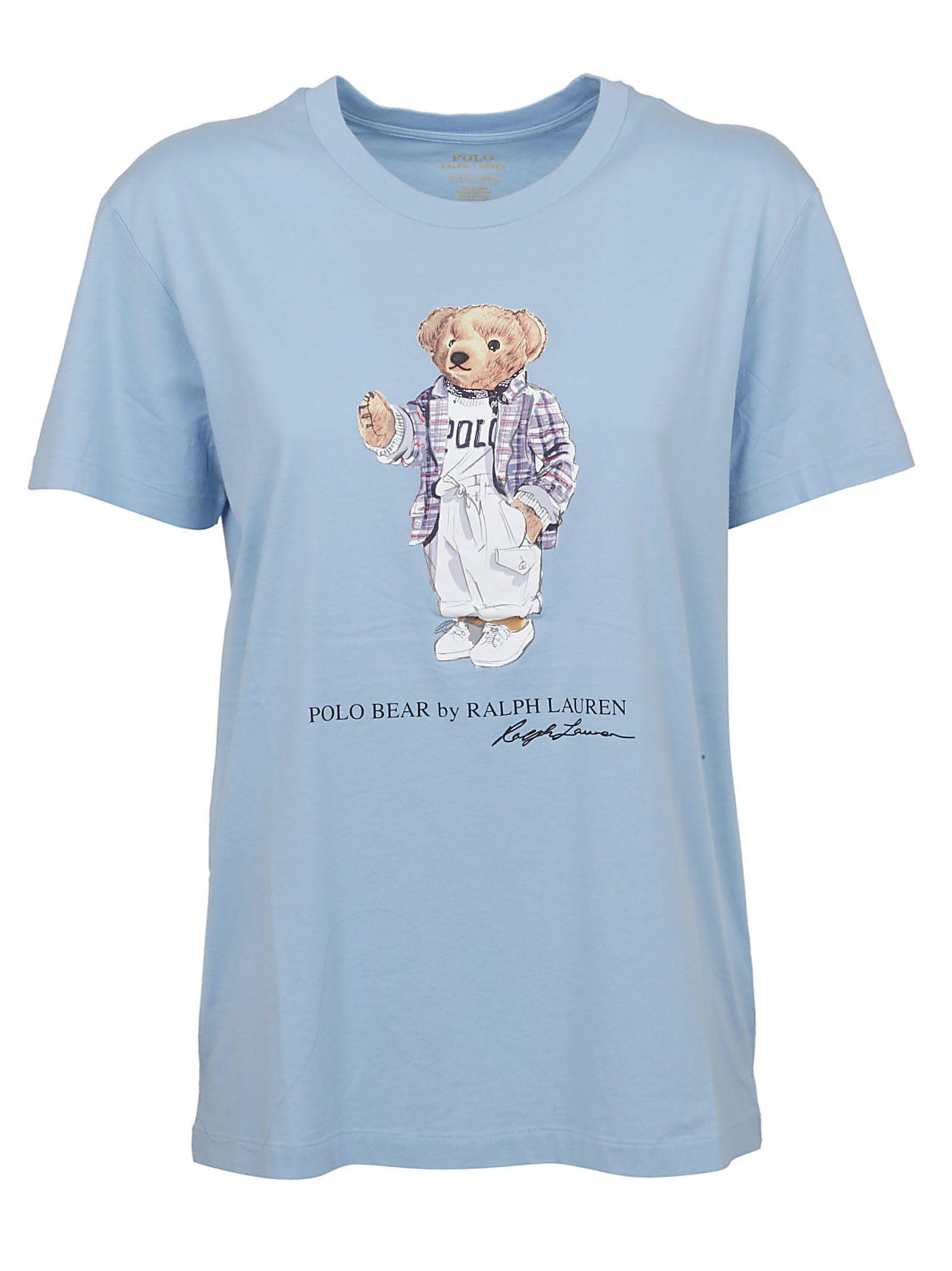 63c872a1 Polo Ralph Lauren Bear Print T-Shirt In Light Blue   ModeSens