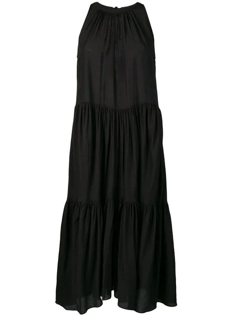 Neul Sleeveless Tiered Ruched Dress In Black