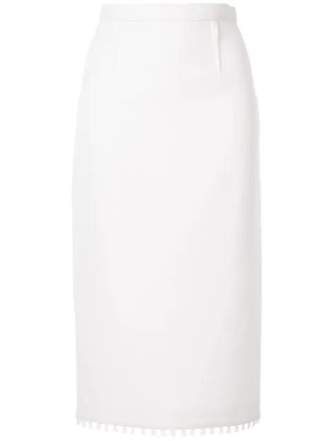 Roland Mouret Arreton Pencil Skirt In White