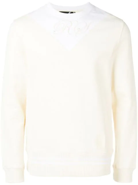 Fred Perry Logo Colour Block Sweatshirt In Neutrals