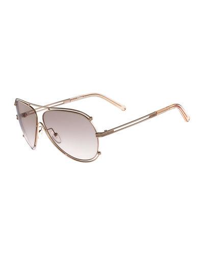 f35a8f10da380 ChloÉ Isidora Metal Aviator Sunglasses