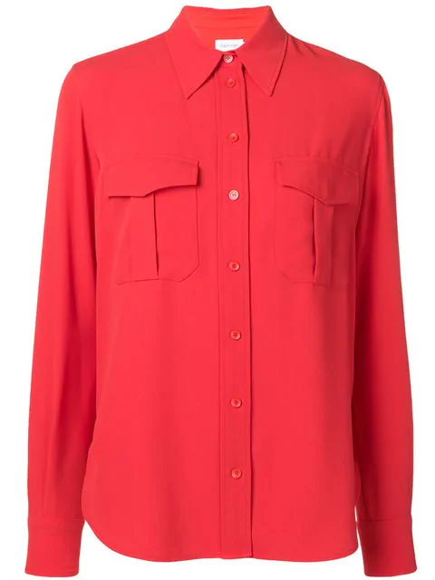 Calvin Klein Chest Pocket Shirt In Red