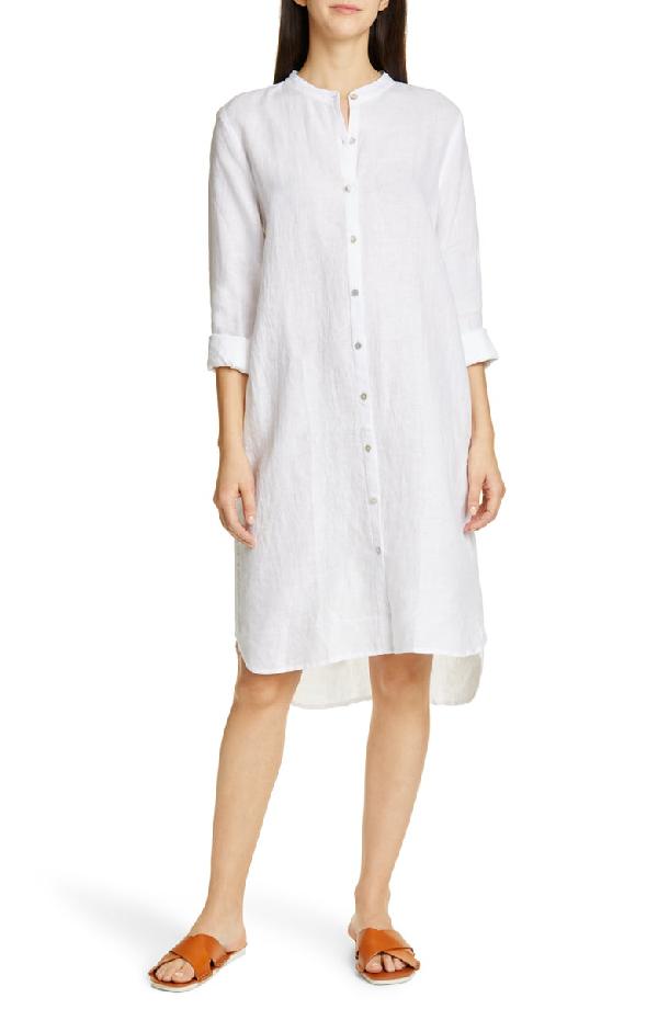 3e695d0fac14 Eileen Fisher Plus Size Mandarin Collar Long-Sleeve Organic Linen Shirtdress  In White