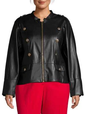d8e3960d3 Plus Zip-Front Faux Leather Jacket in Black
