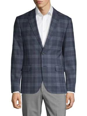 Karl Lagerfeld Slim-Fit Plaid Wool Blend Sport Coat In Navy