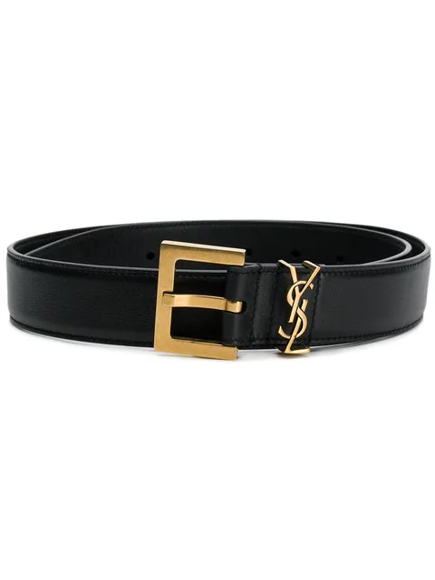 Saint Laurent Monogram Crocodile-effect Patent-leather Belt In Black