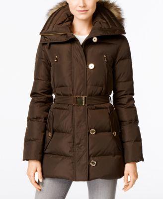 c0cff2661 Michael Michael Kors Faux-Fur-Trim Belted Down Puffer Coat in Bark