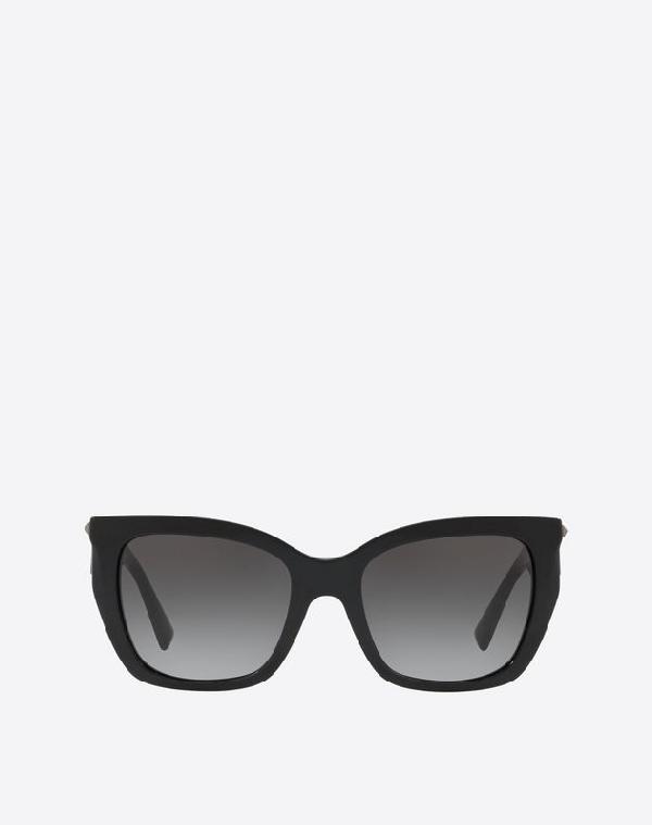 Valentino Occhiali Square Acetate Sunglasses With Studs In Black