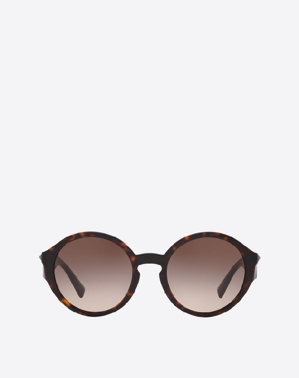 Valentino Occhiali Round Acetate Sunglasses With Studs In Dark Brown