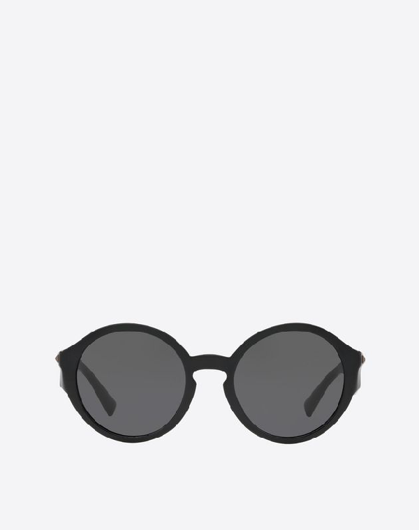 Valentino Occhiali Round Acetate Sunglasses With Studs In Black
