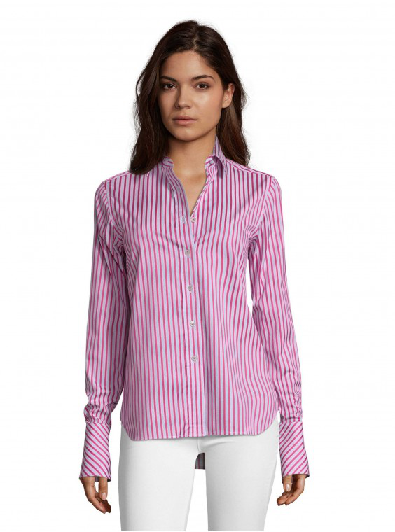 Robert Graham Women's Priscilla Magenta Stripe Shirt In Magenta Size: M By