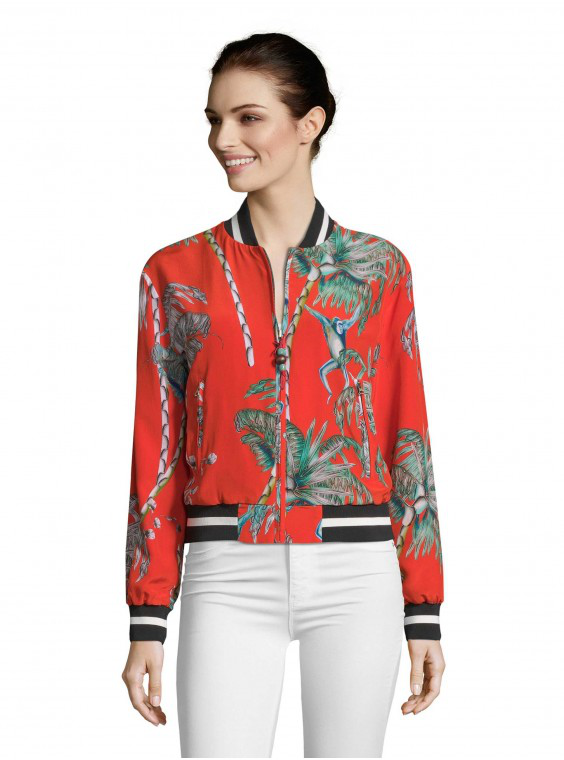Robert Graham Women's Meredith Monkey Botanical Silk Bomber Jacket Size: Xl By  In Multicolor