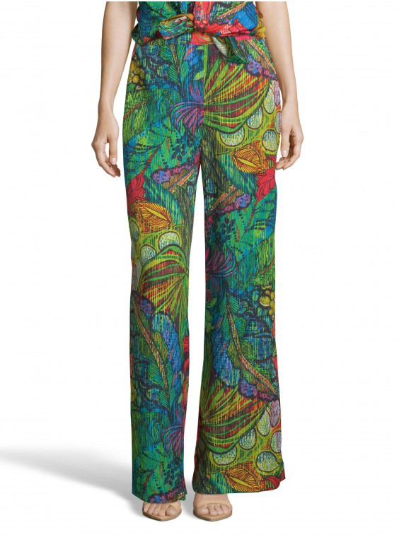 Robert Graham Women's Cora Leaf Botanical Printed Pants Size: 12 By  In Multicolor