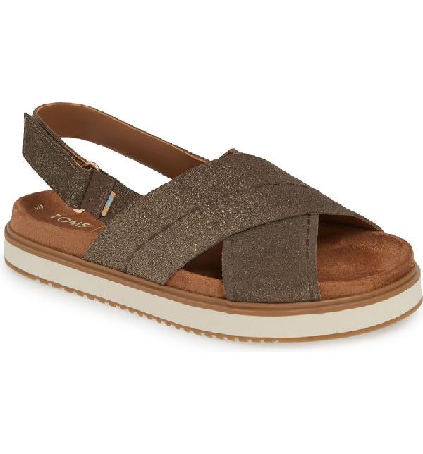 Toms Marisa Sandal In Dusty Gold Star Suede