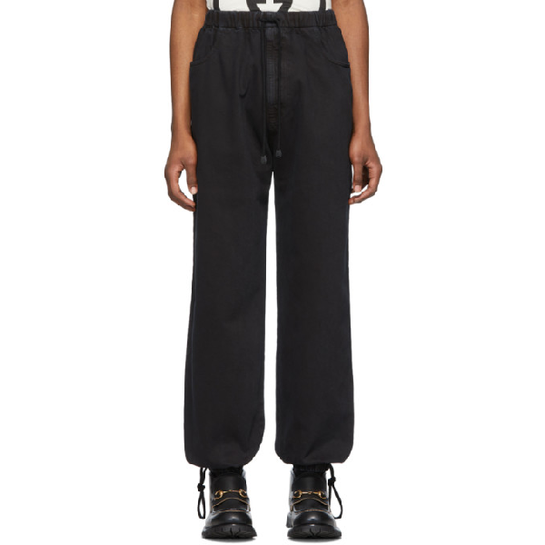 Gucci Washed Cotton Jogging Pant In 1082 Black