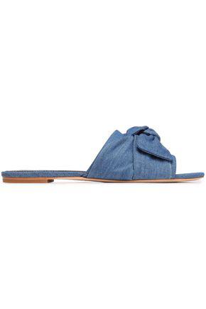 Tory Burch Bow Embellished Denim Slides In Blue Modesens