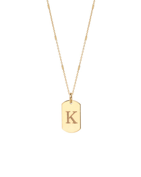 ZoË Chicco 14K Extra-Small Engraved Initial Dog Tag Necklace In Gold