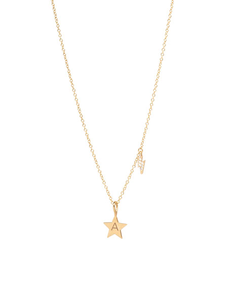 ZoË Chicco 14K Engraved Initial Star Necklace W/ Diamond Bolt In Gold