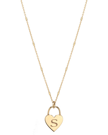 ZoË Chicco 14K Small Engraved Initial Heart Padlock Necklace In Gold