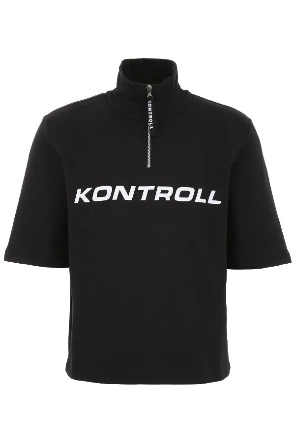 Kappa Half-zip Sweatshirt In Black,white