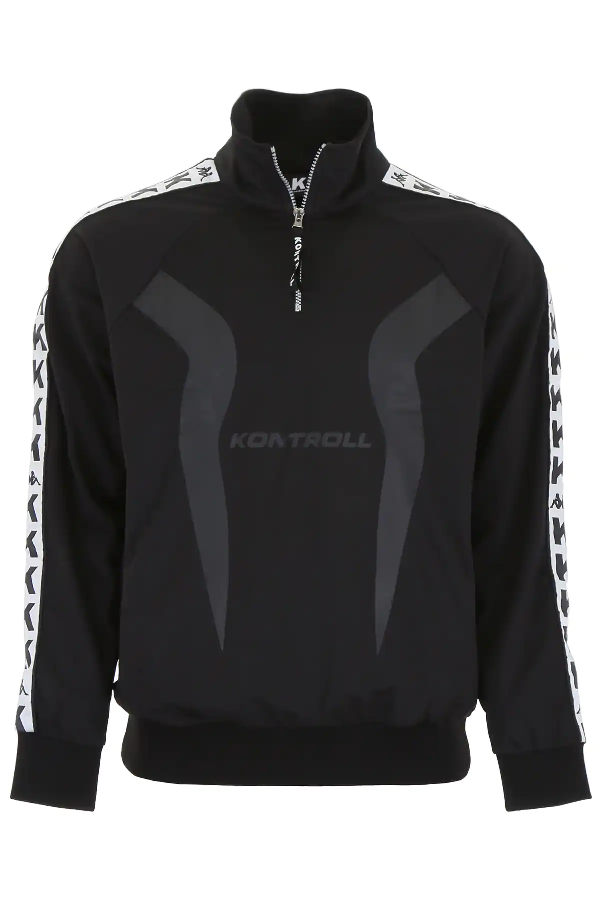 Kappa Half-zip Sweatshirt In Black,white