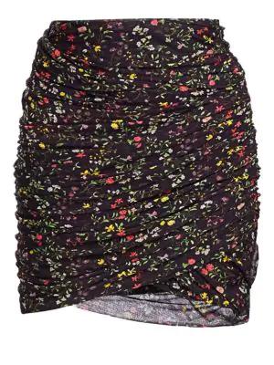 Altuzarra Numan Gathered Floral Mini Skirt In Black
