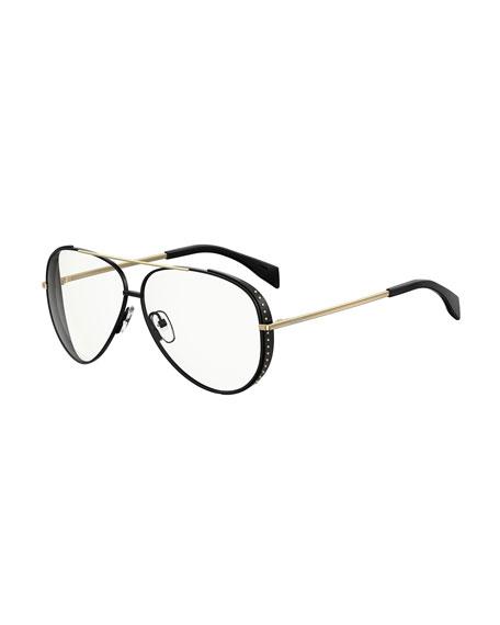 Moschino 61mm Metal Aviator Sunglasses - Black/ Gold