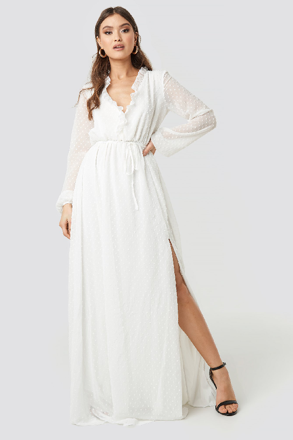 4b4b4c145 Trendyol Tulum Ruffle Detailed Evening Dress - White | ModeSens