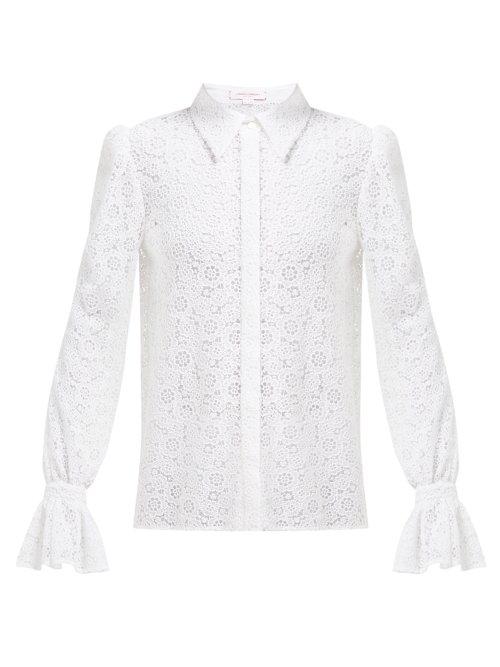 Carolina Herrera Floral Cotton-Blend Crochet Blouse In White
