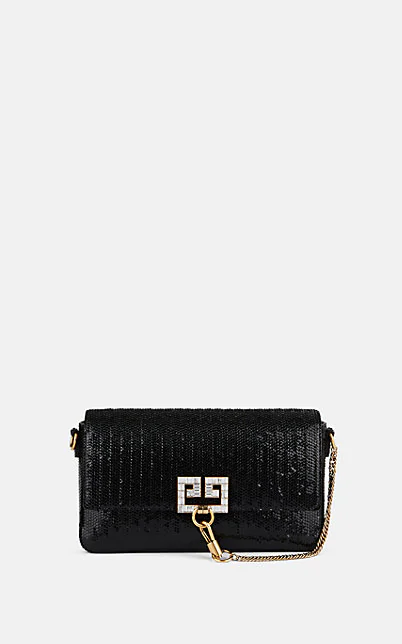 Givenchy Charm Small Laser-Cut Patent Shoulder Bag In Black
