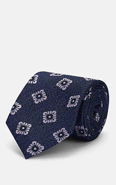 Fairfax Floral-Medallion Silk Faille Necktie - Navy