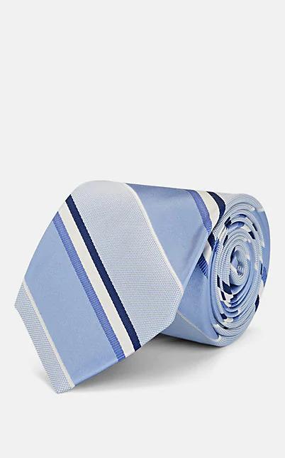 Fairfax Striped Silk Necktie - Lt. Blue