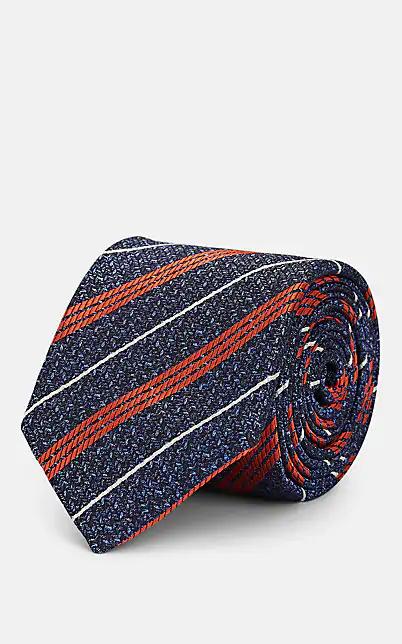 Tie Your Tie Striped Silk Jacquard Necktie - Blue