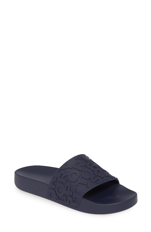bf8c17a5a633 Tory Sport Tory Burch Embossed Logo Slide Sandal In Sport Navy ...
