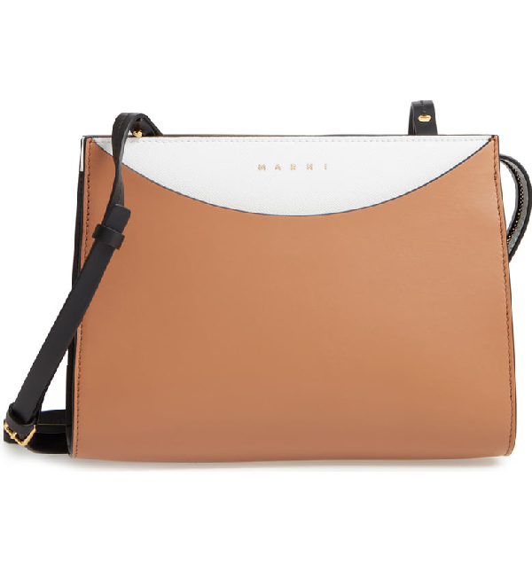 Marni Law Colorblock Leather Clutch - Brown In Pompeii/ Limestone/ Black