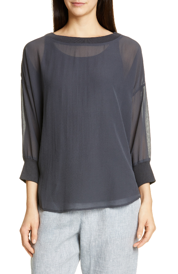 Eileen Fisher Sheer Bateau Neck Silk Top In Graphite