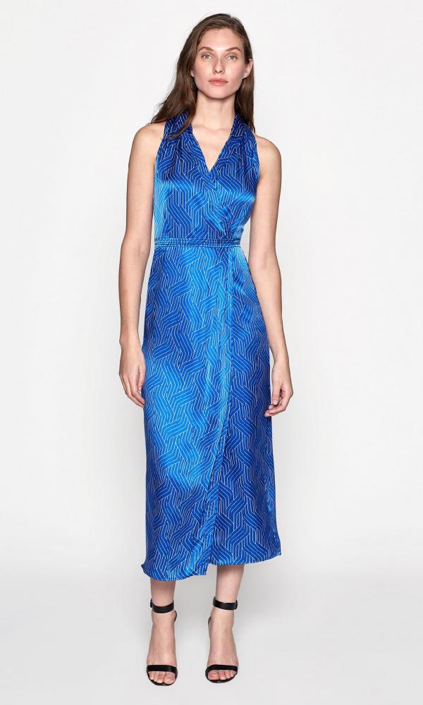 Equipment Katherine Geo Print Sleeveless Satin Midi Dress In Bleu Cotier/Bright White