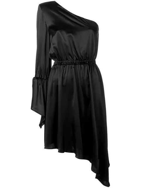 Federica Tosi One Shoulder Cocktail Dress In Black