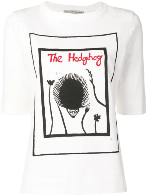 Holland & Holland The Hedgehog Print T-shirt In White