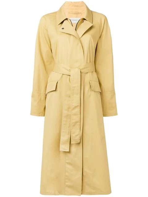 Holland & Holland Belted Trench Coat In Yellow