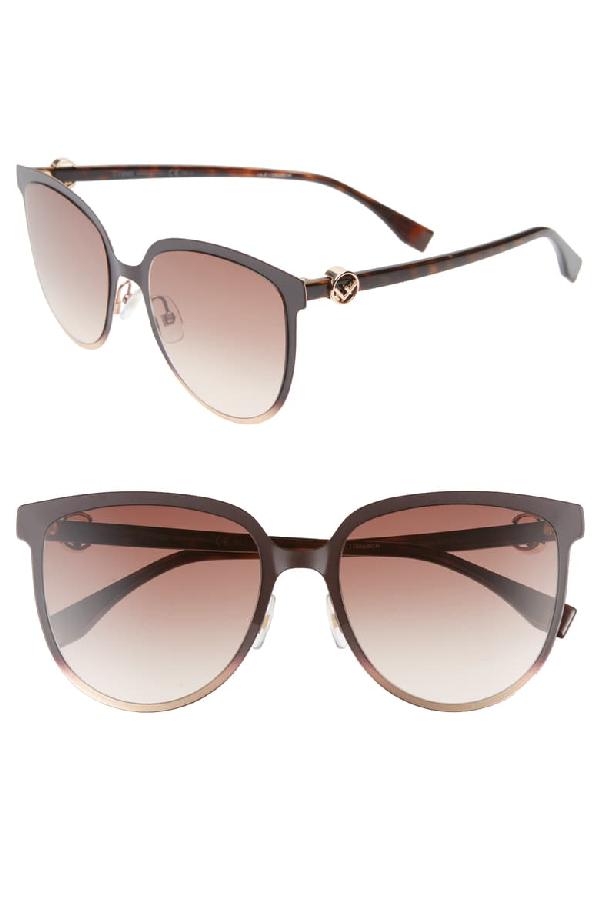 Fendi Square Metal & Acetate Sunglasses In Brown